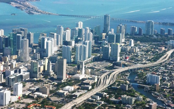 An aerial view of Miami