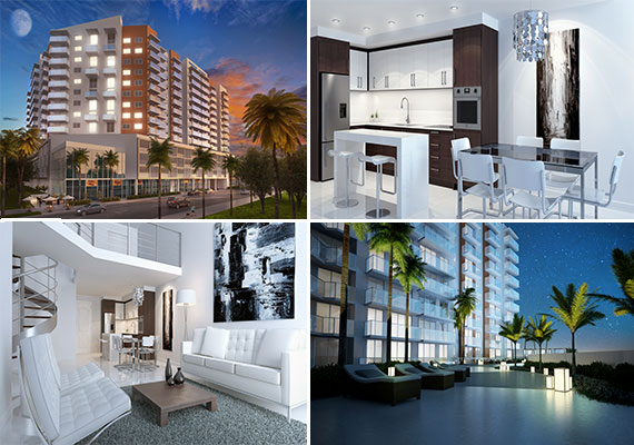 Renderings of the H3 Hollywood condo project in downtown Hollywood