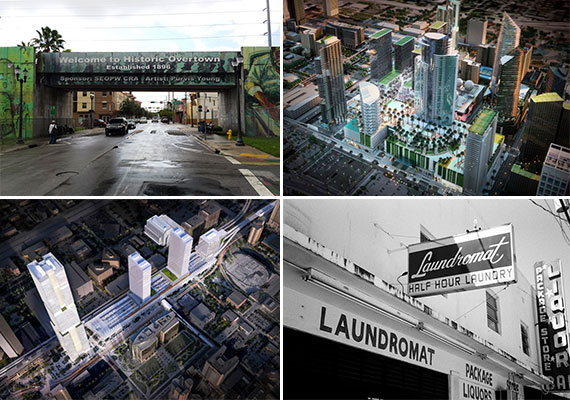 Clockwise from top left: Miami's Overtown neighborhood (Credit: CreativeCommons user Pietro), a rendering of Miami Worldcenter, a historic Laundromat sign in Overtown (Credit: Phillip Pessar), and a rendering of All Aboard Florida's MiamiCentral station