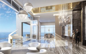 A rendering of an apartment listed for $55 million in Miami
