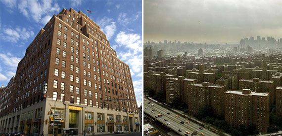 From left: 111 Eighth Avenue, which saw the biggest hike in value, and Stuy-Town, which saw the biggest markdown