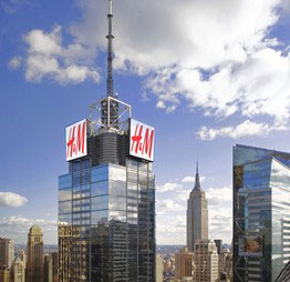 A rendering of the H&M signage at 4 Times Square (via Durst Organization)