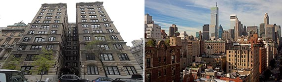 From left: 11 East 68th Street and the penthouse view