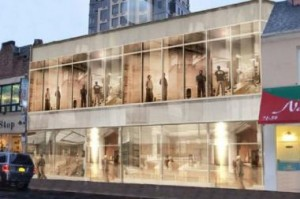 A rendering of the retail building at Austin Street