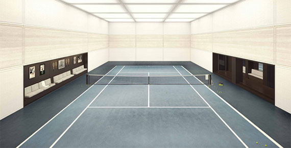 The tennis court at 435 East 52nd Street