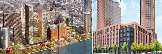 From left: Renderings of the Domino and Greenpoint Landing developments