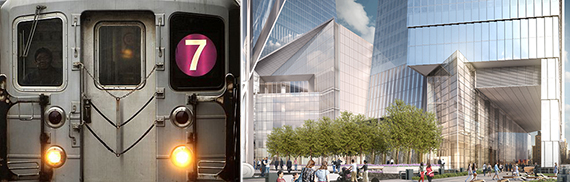 From left: No. 7 train and a rendering of Hudson Yards