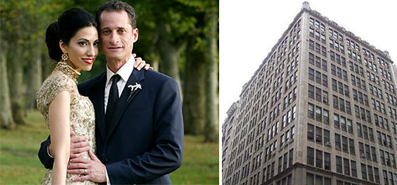 From left: Huma Abedin, Anthony Weiner and 254 Park Avenue South