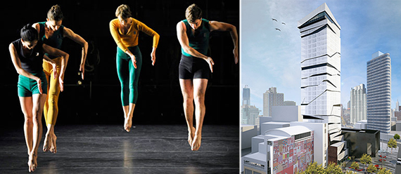 From left: Mark Morris Dance Group and rendering of 95 Rockwell Place