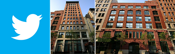 From left: Twitter logo, 245 and 249 West 17th Street