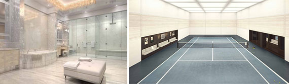 From left: A rendering of the master suite at the Residence at River House  and the tennis court at the River House club