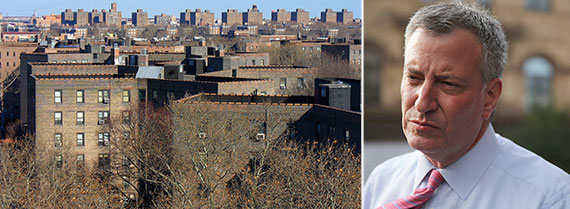 From left: Queensbridge Houses and Mayor Bill de Blasio