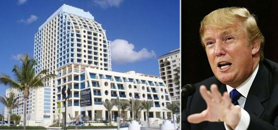 From left: Rendering of the Trump International Hotel Tower in Ft. Lauderdale and Donald Trump