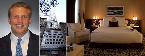From left: Andrew Posil, 70 West 45th Street and a room in the Cassa Hotel