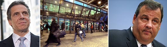 From left: Governor Andrew Cuomo, Port Authority Bus Terminal and Governor Chris Christie