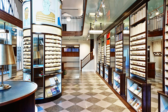 The interior of the Warby Parker store