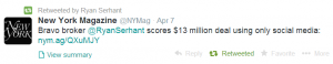 Ryan Serhant retweeted the New York magazine article on April 7