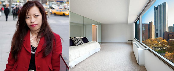 From left: Eva Eng and interior of apartment at 170 Park Row