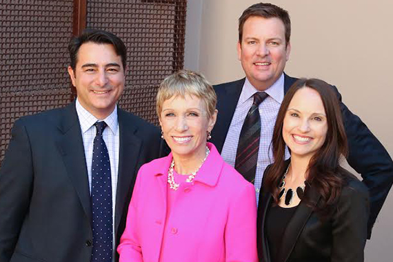 Barbara Corcoran with the Concierge Auctions team. L-R: Mike Russo (Chief Operating Officer), Chad Roffers (Chairman), and Laura Brady (Founder and President)