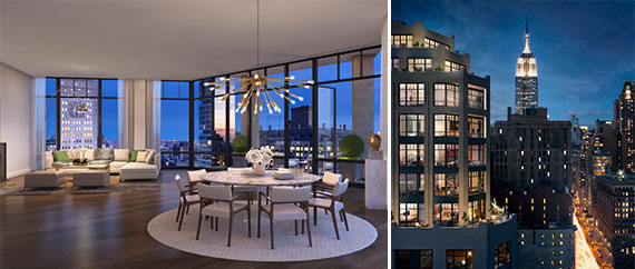 From left: A rendering of the $35 million penthouse at 10 Madison Square West and a rendering of the building's exterior