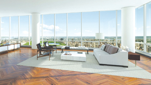 A rendering of a One57 apartment