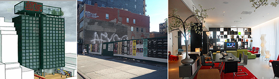 From left: the new CitizenM hotel, 185 Bowery and an CitizenM lounge