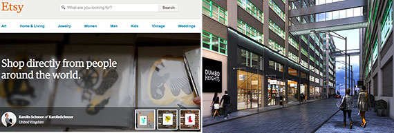 From left: Etsy's website and a rendering of Dumbo Heights