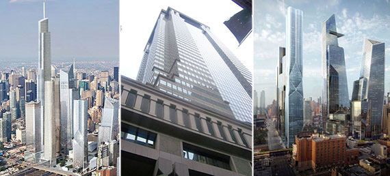 From left: Rendering of Hudson Spire, Deutsche Bank's current outpost at 60 Wall Street and Hudson Yards