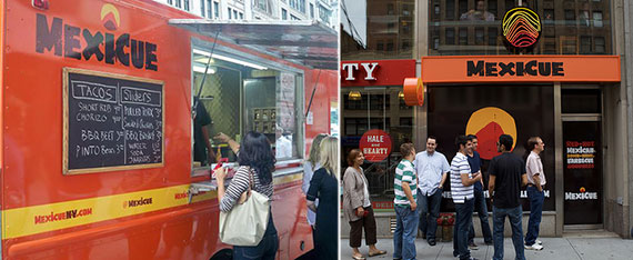 From left: Mexicue food truck and brick-and-mortar restaurant at 345 Seventh Avenue