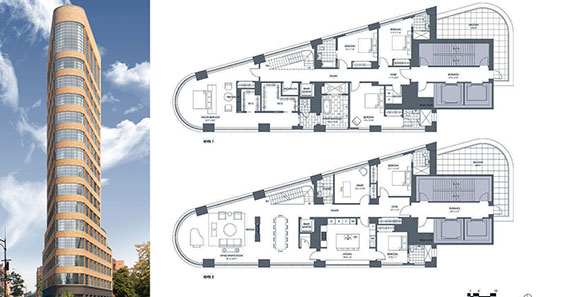 From left: Rendering of 10 Sullivan Street and floorplan of the penthouse unit