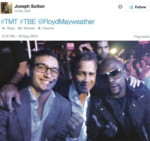 Joseph Sutton, left, took to Twitter when he and his father, retail titan Jeff  Sutton, center, met boxing champ Floyd Mayweather in Vegas last month.