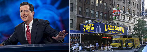 From left: Stephen Colbert (Scott Gries, Picture Group) and Ed Sullivan Theater (Andreas Praefcke)