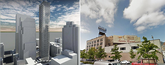 From left: 242 West 53rd Street rendering and 340 Flatbush Avenue Extension