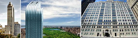 From left: The Pierre, One57 and 15 Central Park West