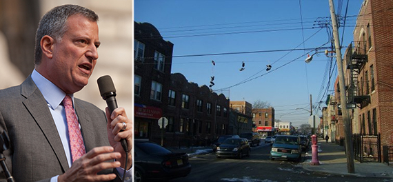 From left: Bill de Blasio and Franklin Avenue in East New York