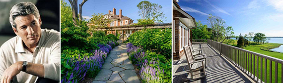 From left: Richard Gere and images of his Hamptons listing