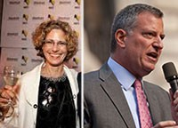 From left: Margery Perlmutter and Bill de Blasio