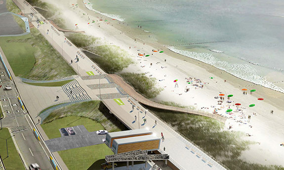 Rendering of a revamped Rockaway boardwalk