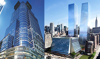 From left: 4 Times Square and Manhattan West project rendering