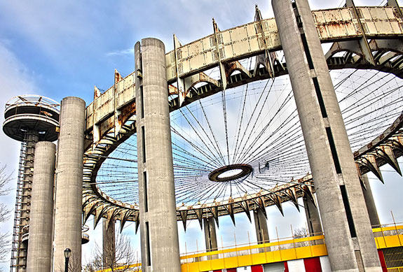 Originally constructed for the 1964-65 world's fair, the New York State Pavilion in Flushing Meadows Corona Park has since fallen into disrepair.