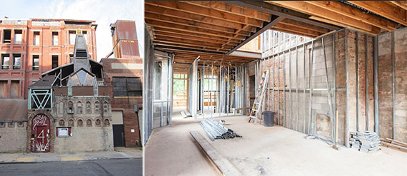 From left: 4-8 Downing Street in Fort Greene and interior renovation at the site