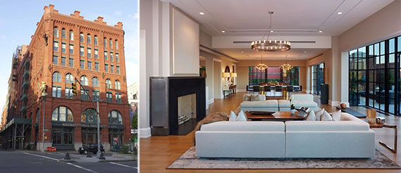 From left: Puck Building at 295 Lafayette Street and penthouse interior