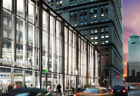 Rendering of the Fulton Street Transit Center's exterior