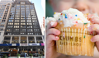From left: 1385 Broadway and Crumbs cupcake