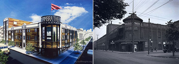 From left: a rendering for the new Alhambra Theatre and old picture of the property