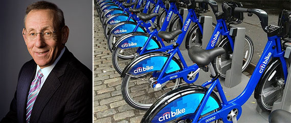 From left: Stephen Ross and Citi Bikes