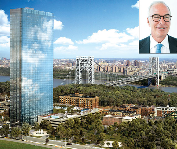 The first of the twin 47-story rentals at the Modern in Fort Lee began leasing last month.  (Inset) Steven Pozycki, CEO of SJP Properties, the developer of the Modern (Photo: STUDIO SCRIVO)