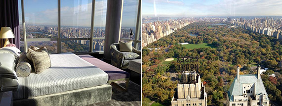From left: the master bedroom in the One57 model unit and the view from its living room