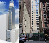 Rendering of 333 West 38 Street and the site itself