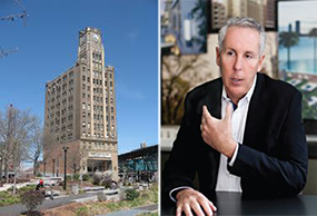 From left: Long Island City's clock tower building and Kevin Maloney